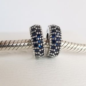 2 PANDORA Spacers Blue Crystals Sterling Silver